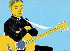 #kid #student #guitar #music #schooldays #school #schoollife #life #japan #tokyo #illustrator #illustration #tatsurokiuchi #happy #love