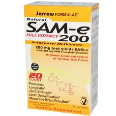 Sam-e is amazing to boost uptake of serotonin and dopamine (natural anti-depressant), reduce cortisol, aid memory, is a good liver cleanser and helps with joint pain. I highly recommend to all my clients!