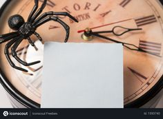Free Selective Focus of blank sticky note on wall clock and spider Photo Business Photos, Sticky Notes, Spider, Clock, Photoshop, Wall, Free, Watch, Spiders