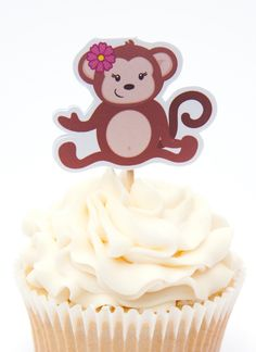 Monkey Birthday Party - Set of 12 Monkey Girl I Cupcake Toppers by The Birthday House Monkey First Birthday, Monkey Birthday Parties, Baby Birthday, Birthday Ideas, Monkey Girl, Cupcake Toppers, Game Ideas, Party Ideas, First Birthdays