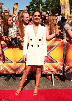 TV&Showbiz  She means business! Cheryl Fernandez-Versini covers up her super slim frame in white tuxedo dress as X Factor auditions continue in London