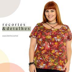 (Ref10167) Blusa com toque floral+folhagens em mix de tons neutros e cores vivas. Cores Off e Terra. Escolha o seu no site www.fammix.com.br #fammix #lançamento #novidades #coleçãonova #blusas #modafeminina #modagrande