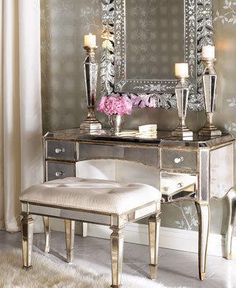 Bathroom, Small And Elegant Vanity With Modern Vanity Chair With The Cute And Interesting Design Ideas For Your Room With Some Candles Pillar With Cute Mirror And Elegant Frame Also Wallpaper And White Rug ~ Make Your Dresser Table More Elegant With Modern Vanity Chair