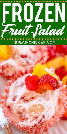 Frozen Fruit Salad - easy and delicious dessert! Cream cheese cool whip cherries pineapple strawberries coconut and pecans. Make ahead of time and keep frozen until ready to serve. Great for all your summer cookouts! A great way to beat the heat t Frozen Fruit Salads, Best Fruit Salad, Fruit Salad Recipes, Fruit Snacks, Frozen Desserts, Fruit Party, Jello Salads, Dessert Aux Fruits, Dessert Salads