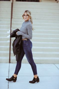 UGG® boots - Nordstrom | Top - Windsor | Cara Loren jacket - CaraLoren Shop | Jeans - GoldSign via ShopBop | Handbag - FLYNN | Glasses - Forever 21