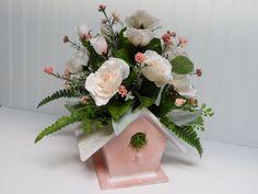Flower Arrangement, Bird House Table Arrangement, Bird House Centerpiece, Mother's Day Gift, Pale Pink Flowers, Spring Flower Arrangement by BeautifulHomeAccents on Etsy