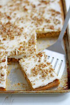 Butternut-Pumpkin Spice Sheet Cake with Bourbon-Vanilla Cream Cheese Frosting | Girl Versus Dough | http://www.girlversusdough.com/