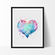 This art illustration is a composition of digital watercolor images and silhouettes in a minimalist style. Watercolor Heart, Watercolor Images, Watercolor Cards, Watercolor Paintings, Watercolour, Valentines Watercolor, Love Posters, Heart Art, Nursery Art