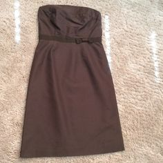 ‼️ LOWEST FINAL PRICE ‼️ J. Crew dress 100% silk J Crew brown strapless dress 100% silk outer, lining is 100% acetate. There is a small spot on the back as you can see in the third picture. J. Crew Dresses Strapless