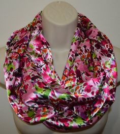 multicolor infinity scarf women colorful print by byJuliasDesigns