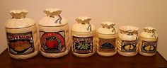 Vintage Hearth and Home Designs Burlap Sack Look Canister Set 6 Pieces 1988