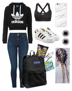 """School outfit ❤️"" by lissetzepeda on Polyvore featuring Topshop, Dot & Bo, Wrigley's, J Brand, JanSport, adidas Originals and adidas"