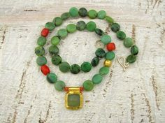 Chrysoprase Necklace, 24k Gold Necklace with Chrysoprase, Jade and Coral by Omiya