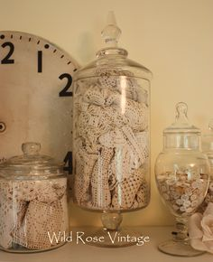 Great use of old lace and glassware.  I'm going upstairs to make mine...I have tons of this stuff.