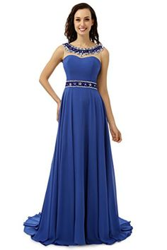 Royal Blue Robe De Soiree 2017 A-line Scoop Chiffon Beaded Crystals Women  Backless Long Prom Dresses Prom Gown Evening Dresses 9e031efadc9b