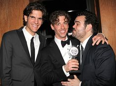 Alex Timbers, Tony winner Christian Borle and Greg Hildreth celebrate after the #TonyAwards