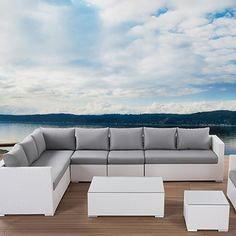Beliani XXL Outdoor 7 Piece Lounge Seating Group with Cushion