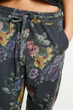 Pins & Needles Floral Sweat Pants in Green