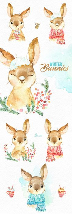 This Winter Bunnies set of 11 high quality hand painted watercolor images. Perfect graphic for chris Animals Watercolor, Watercolor Images, Watercolor Ideas, Watercolor Design, Foto Poster, Baby Drawing, Drawing Art, Drawing Ideas, Illustration Art
