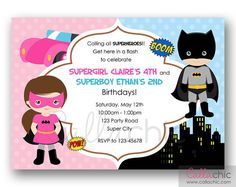 Batman+and+Batgirl+Birthday+Invitation+PRINTABLE++by+CallaChic,+$14.00