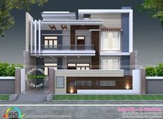 Decorative style contemporary home is part of House design - decorative style 2824 square feet contemporary home plan by S I Consultants, Agra, Uttar Pradesh, India Best Modern House Design, Modern Exterior House Designs, Modern House Facades, Modern Architecture House, Modern Houses, Contemporary Houses, Bungalow Haus Design, Duplex House Design, House Front Design