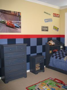 Cars Room - I like how the blue-painted furniture still shows some wood-grain through the paint.