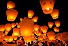 People believe that if you make a wish with every released flying lanterns, it will become true once the lantern burns out.