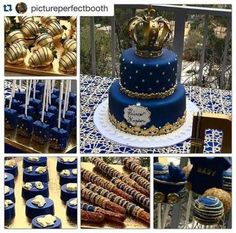・ Gold Chocolate Covered Strawberries, Royal Blue & Gold Rice Krispie Treats, Oreos, Pretzels and Cake Pops all done by Alice did an amazing job and her customer service is outstanding.That gorgeous, amazing cake done by Prince themed Baby Shower for Shower Party, Baby Shower Parties, Baby Shower Themes, Baby Shower Decorations, Shower Ideas, Prince Themed Baby Shower, Balloon Decorations, Royalty Baby Shower Theme, Shower Favors