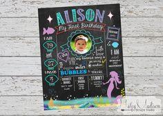 Mermaid First Birthday Chalkboard Poster DIGITAL FILE
