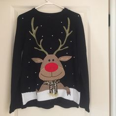 Reindeer Christmas sweater Like new Christmas sweater size medium Sweaters