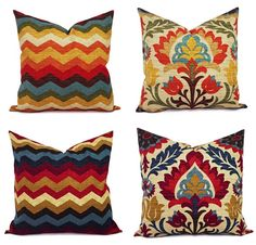 ONE Decorative Pillow Cover! Pick a throw pillow cover in a blue and orange or blue and beige print. This throw pillow cover can be made to fit