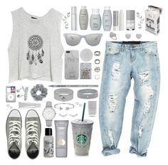 """50 shades of grey"" by foteini98 ❤ liked on Polyvore featuring One Teaspoon, MINKPINK, By Terry, Le Métier de Beauté, Living Proof, Ray-Ban, Converse, Korres, Zippo and Ouidad"
