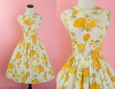 1950s orange rose floral dress/ 50s crepe day dress/ small by thesweetlifevintage on Etsy https://www.etsy.com/listing/460104618/1950s-orange-rose-floral-dress-50s-crepe