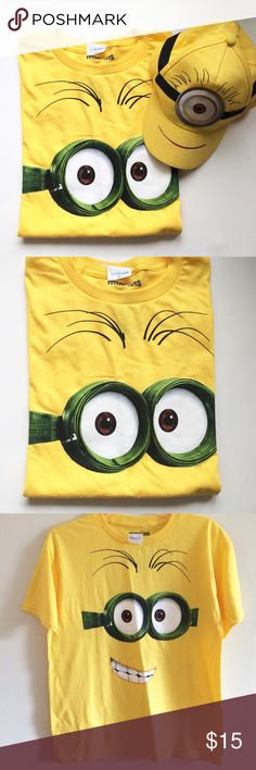 Minions T Shirt with FREE Cap  New with tags! Minions Ilumination Entertainment, size Youth 2XL (18),  Cotton, Short Sleeves , FREE Cap included! Great Gift Idea  Minions Shirts & Tops Tees - Short Sleeve