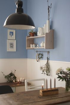 W e i h n a c h t s k ü c h e Home Furniture, Modern Furniture, Deco Cafe, Wall Design, House Design, Sweet Home, Blue Rooms, Dining Room Design, Bedroom Colors
