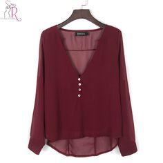 Grey Long Sleeve Chiffon Blouse Shirt Fall Deep V Neck Buttoned Back High Low Asymmetric Loose Casual 2016 Women Top 4 Colors