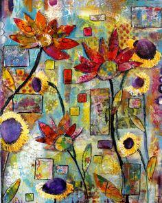 Floral mixed media collage on canvas The Garden door Windblownarts