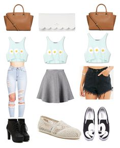 """""""1 top 3 outfits"""" by fashioninspirations1 ❤ liked on Polyvore featuring Tiger of Sweden, UNIF, TOMS, Kate Spade, MICHAEL Michael Kors, followback and likeback"""