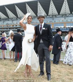 Cute couple: Rochelle and Marvin humes were also at the races, with Rochelle dazzling in a white midi dress that showed off her sensational post-baby figure Ascot Outfits, Ascot Dresses, Derby Outfits, Dresses For The Races, Dresses Near Me, Race Day Outfits, Races Outfit, Race Day Fashion, Races Fashion