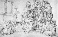 Studien zu einem großen »Marienbild«- Maria mit Kind, Heiligen und musizierenden Engeln. Albrecht Durer