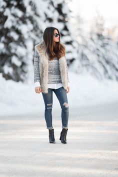 e7a1dedaccb Tommy Hilfiger crewneck sweater and fur vest snow outfit