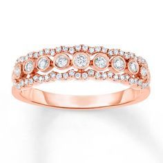 Diamond Ring 1/3 ct tw Round-cut 10K Rose Gold