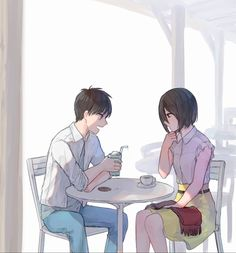 Modern Eren and Mikasa 5 Anime, Anime Couples Manga, Cute Anime Couples, Anime Demon, Attack On Titan Series, Attack On Titan Comic, Mikasa X Eren, Anime Akatsuki, Eremika