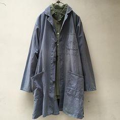 Lemontea Online Shop  Vintage Atelier Coat K10× Grandfather Shirt Green / Brown Mix  アトリエコート、グランドファザーシャツどちらも池尻店取り扱いのオンラインショップ掲載商品です。詳細はオンラインショップをご覧ください✔︎ #lemontea_ikejiri  #lemontea_online_shop