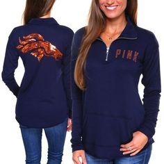 Victoria's Secret PINK Denver Broncos Ladies Quarter-Zip Pullover Long Sleeve Top - Navy Blue