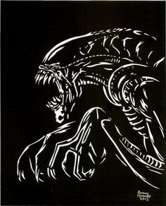 Awesome Alien Horror Art created and for sale by The Moonlight Muse at MoreThanHorror.com