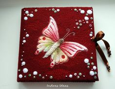 Embroidered pink butterfly book, journal, notebook, from Indrasideas on etsy - the only word is stunning!