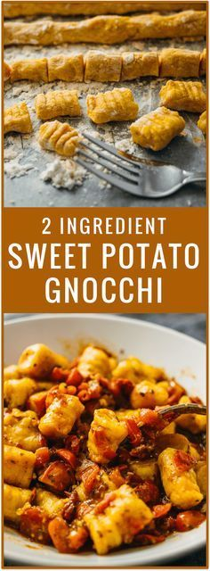 Sweet potatoes and flour are all you need for this vegan recipe. With just 2 ingredients, you'll make soft and pillowy homemade sweet potato gnocchi that beats any store-bought gnocchi.