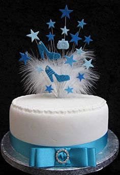 Glittered Handbag & Shoes Birthday Cake Topper Blues And White With Marabou Feathers Birthday Cake Toppers, Birthday Cakes, Cupcake Cakes, Cupcakes, Basic Cake, Feathers, Blues, Blue And White, Glitter