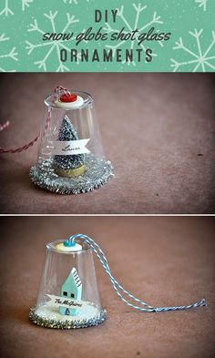 ** ADAPT FOR HALLOWEEN ** What's Up with The Buells: CRAFTING: DIY SNOW GLOBE SHOT GLASS ORNAMENTS
